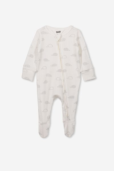Newborn Zip Through Romper, MILK/HEDGEHOG
