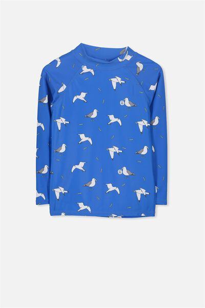 Fraser Long Sleeve Rash Vest, MALIBU BLUE/SEAGULLS