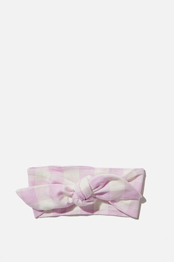 The Tie Headband, PALE VIOLET/VANILLA MAXI GINGHAM