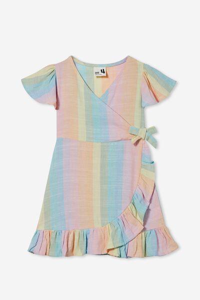 Britta Short Sleeve Dress, RAINBOW STRIPE