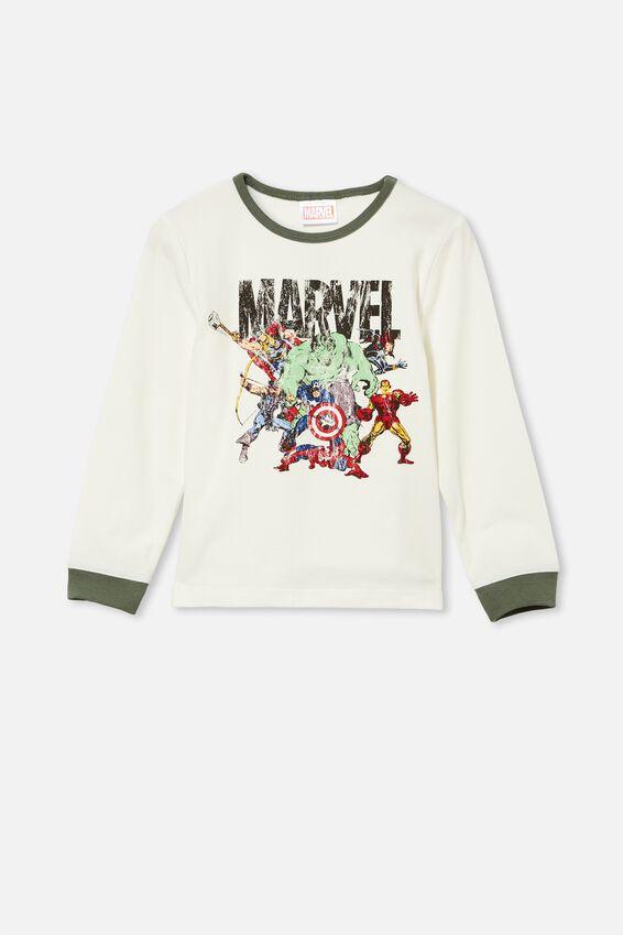 Orlando Long Sleeve Pyjama Set Licensed, LCN MAR MARVEL TEAM/VANILLA