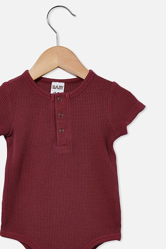 The Short Sleeve Waffle Bubbysuit, FADED BURGUNDY