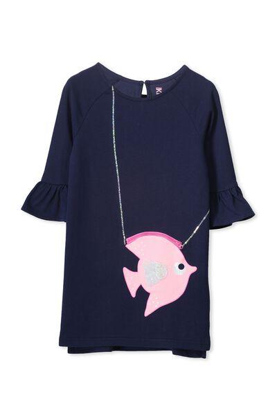 Jenny Ls Dress, PEACOAT/FISH HANDBAG POCKET