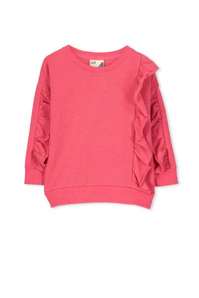 Sage Front Frill Sweatshirt, RASPBERRY RED