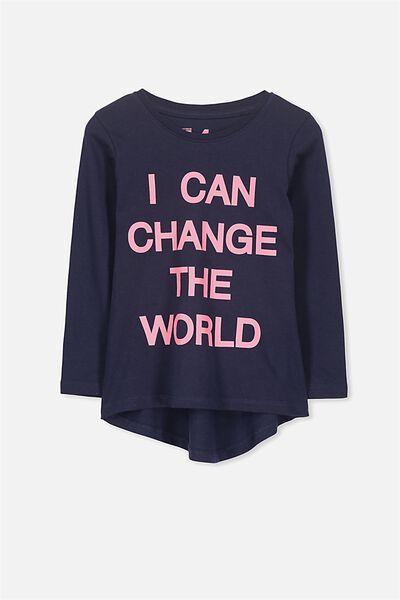 Penelope Long Sleeve Curved Hem, PEACOAT/I CAN CHANGE THE WORLD