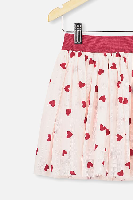 Trixiebelle Tulle Skirt, CRYSTAL PINK/HEARTS