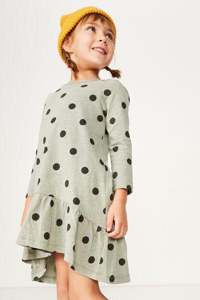 Joss Long Sleeve Dress, FOUR LEAF MARLE/SPOT