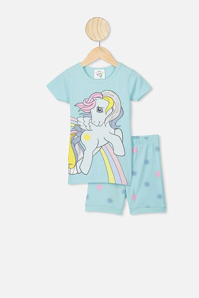 Nikki Short Sleeve Pajama Set, LCN HAS DREAM BLUE/MLP RAINBOW STAR