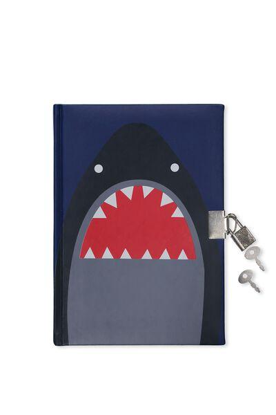 A5 Lockable Sketchbook, NAVY SHARK