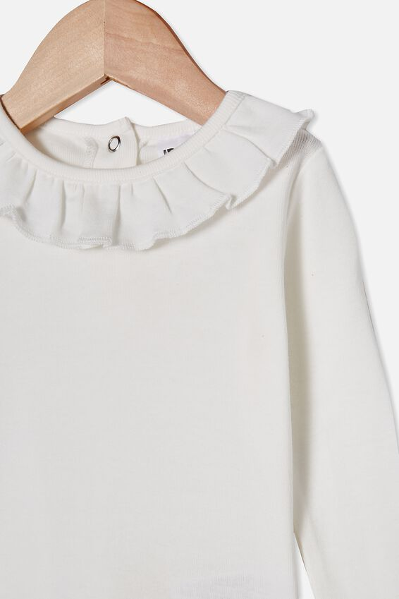 Alison Long Sleeve Frill Neck Top, VANILLA