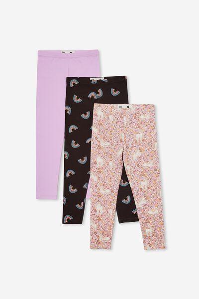 Girls Multipack Legging 3 Pack, FLORAL RAINBOW BUNDLE