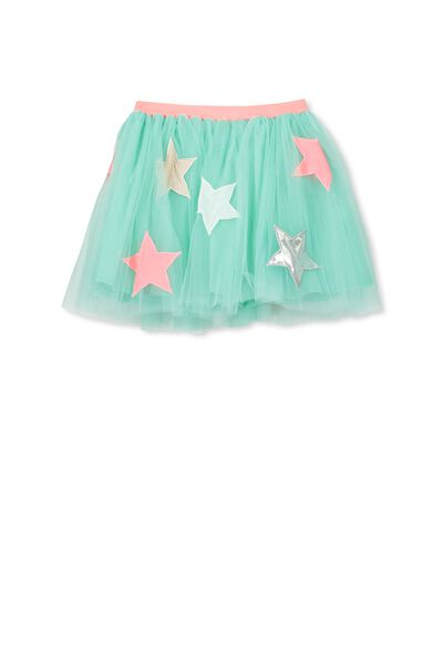 Trixiebelle Tulle Skirt, COOL MINT/STARS