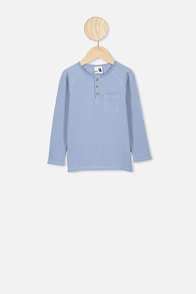 Long Sleeve Henley Raglan Tee, DUSTY BLUE
