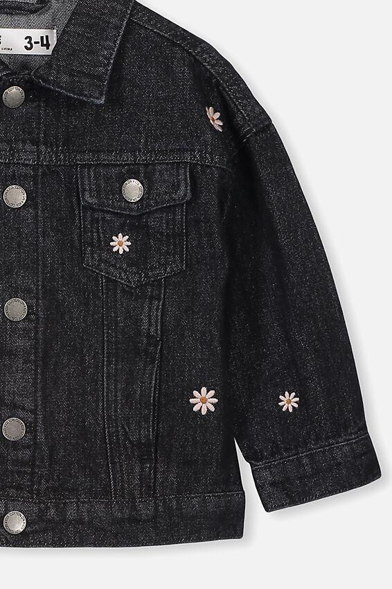 Emmy Denim Trucker Jacket, BLACK WASH DAISIES