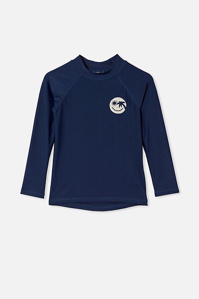 Flynn Long Sleeve Raglan Rash Vest, INDIGO/SMILE