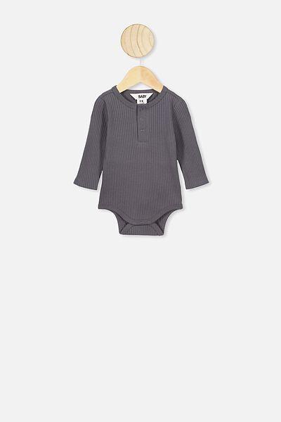 Ls Button Bubbysuit, RABBIT GREY