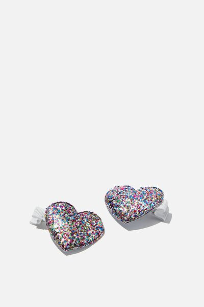 Hair Clips, MULTI HEART GLITTER