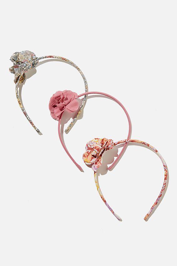 3 Pk Headbands, FLORAL