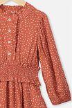 Addie Long Sleeve Dress, RED BRICK SPOT