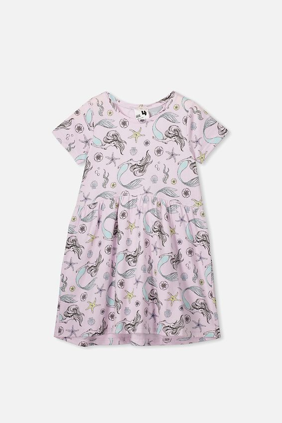Freya Short Sleeve Dress, LCN DIS LAVENDER FOG/THE LITTLE MERMAID