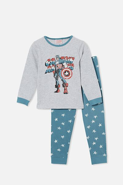 Orlando Long Sleeve Pyjama Set Licensed, LCN MAR CAPTAIN AMERICA/TEAL STORM