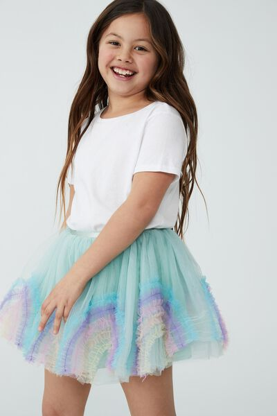 Trixiebelle Dress Up Skirt, DUCK EGG/RAINBOW RUFFLE