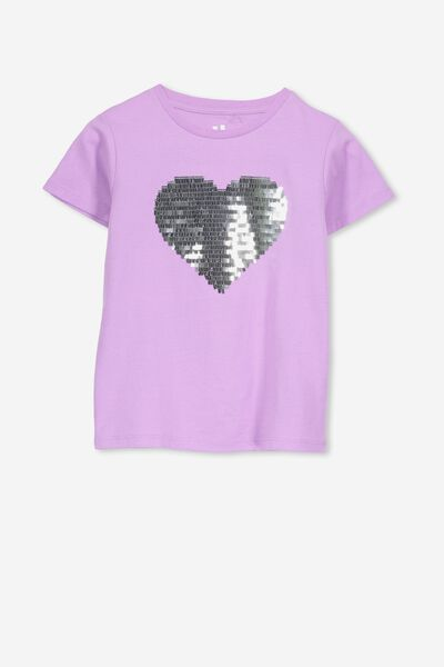 Stevie Ss Embellished Tee, SWEET LILAC/SEQUIN HEART