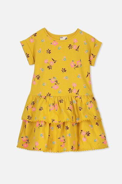Alba Short Sleeve Dress, MINERAL YELLOW/POP DITSY FLORAL