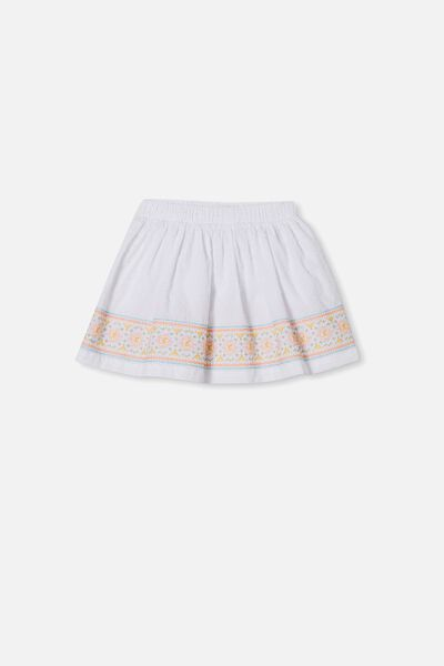 Sully Skirt, WHITE/EMBROIDERY