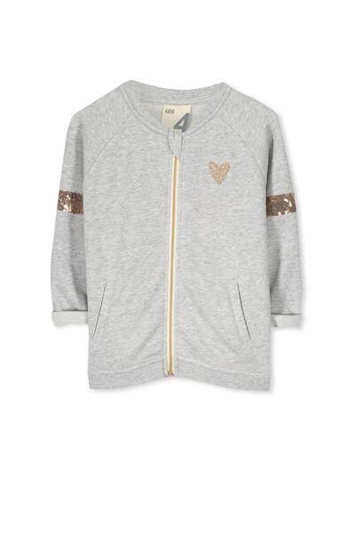 Arkie Zip Up Sweatshirt, LIGHT GREY MARLE/GOLD SEQUINS
