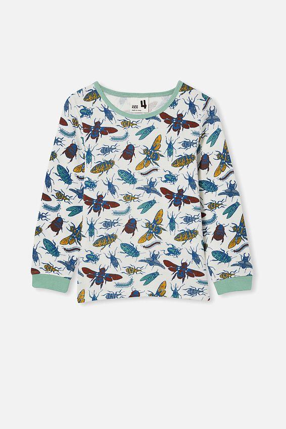 Noah Long Sleeve Pyjama Set, BUGS AND BEES/VANILLA