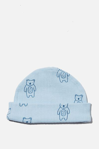 Organic Newborn Beanie, WHITE WATER BLUE/FOREST BEARS