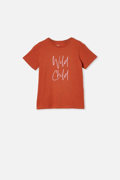 Penelope Short Sleeve Tee, ROASTED ALMOND/WILD CHILD SCRIPTURE