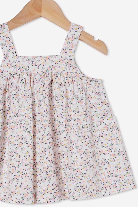 Penny Pinafore Dress, VANILLA/CALI PINK SOMERSET FLORAL