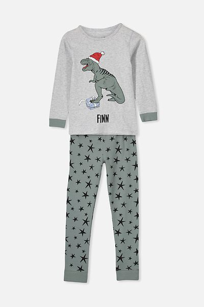 Harrison Long Sleeve Pyjama Set- Personlised, XMAS DINO/PERSONALISED