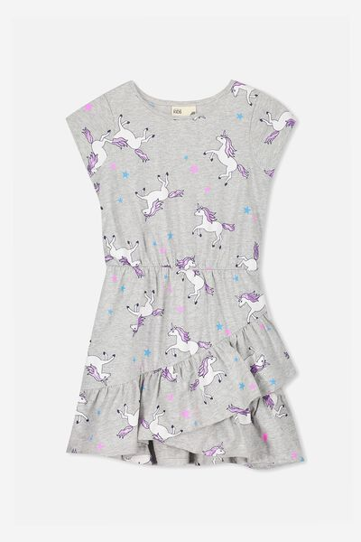 Joey Short Sleeve Dress, LT GREY MARLE/UNICORNS