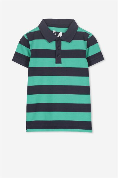 Kenny 3  Polo, NAVY/ECO GREEN STRIPE