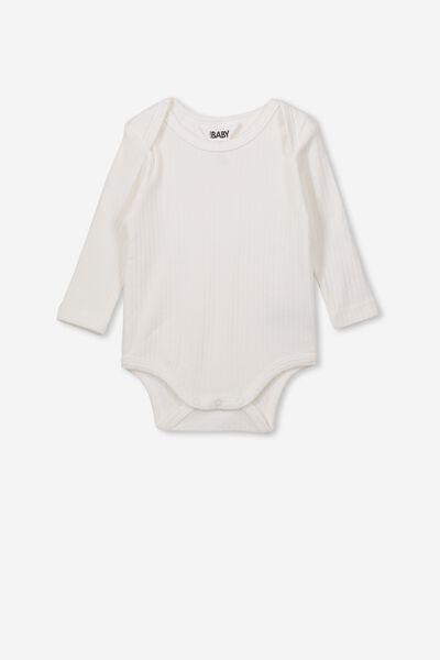 Newborn Long Sleeve Bubbysuit, MILK