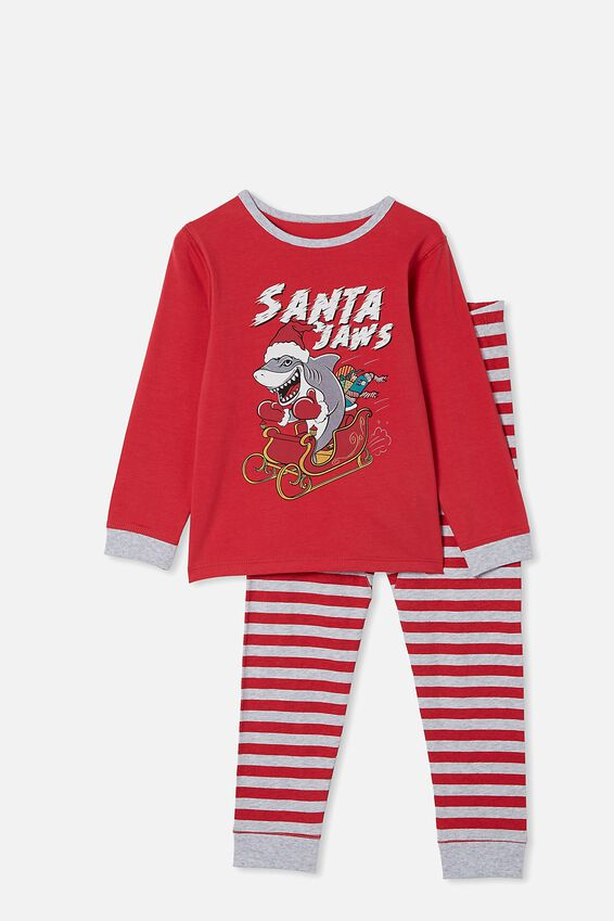 Orlando Long Sleeve Pyjama Set, SANTA JAWS LUCKY RED