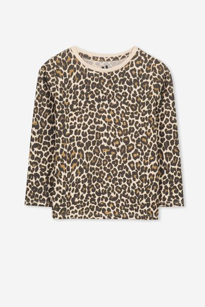 Penelope Long Sleeve Tee, SAND DOLLAR/LEOPARD/SET IN