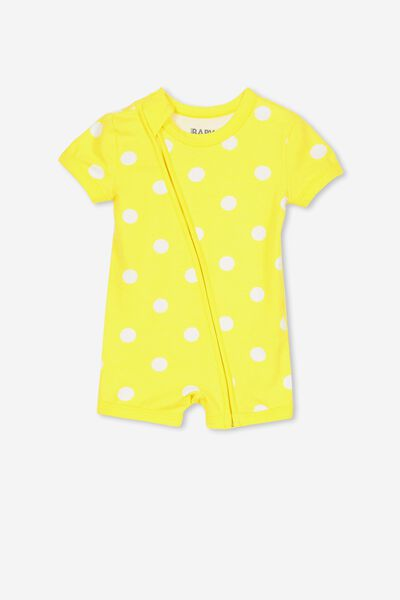 Mini Ss Zip Through Romper, LEMON ZEST/SPOT