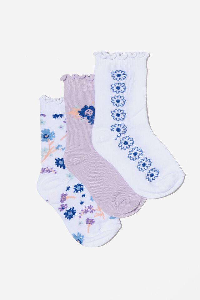 Kids 3Pk Crew Socks, WHITE DISTY FLORAL