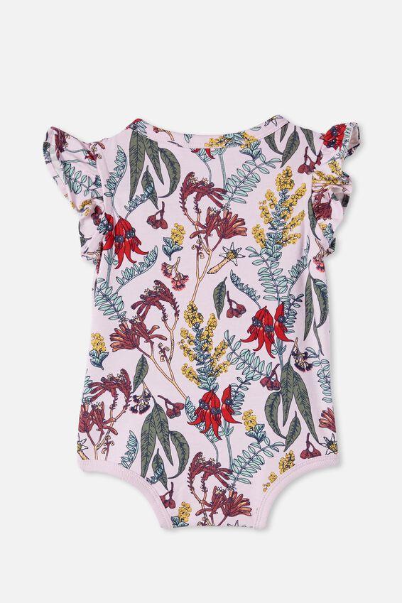 The Sleeveless Ruffle Bubbysuit, LAVENDER FOG/SHARON FLORAL