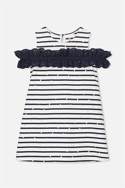Anais Dress, PEACOAT STRIPE/GOLD DOT