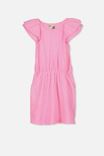 Beau Flutter Sleeve Dress, PERRY PINK GARMENT DYE