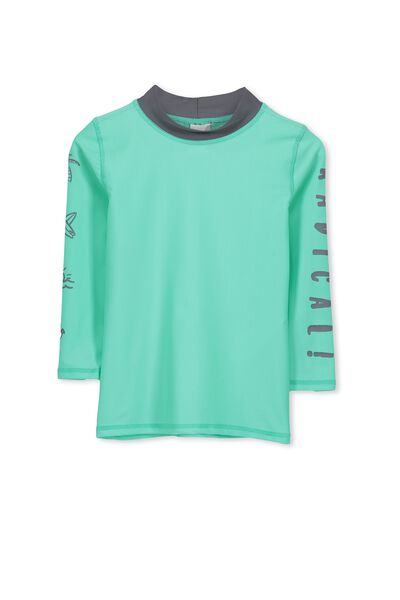 Fraser Ls Rash Vest, COOL MINT/RADICAL