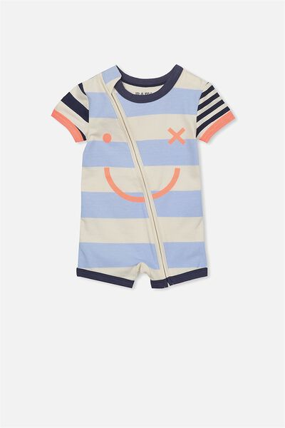 Mini Ss Zip Through Romper, DARK VANILLA/STRIPE FACE