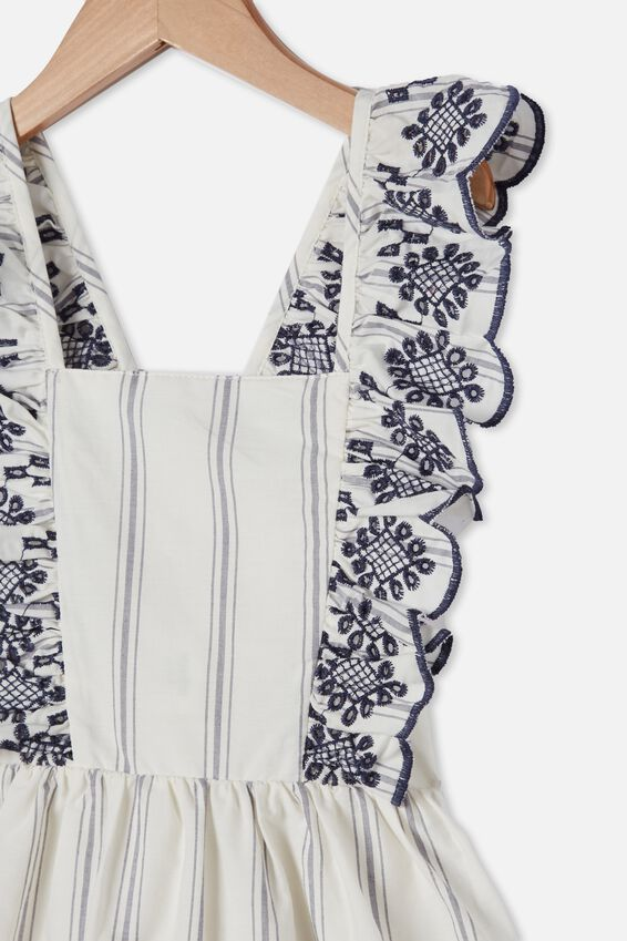 Renee Flutter Sleeve Dress, VANILLA/BLUE STRIPE