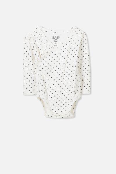 Newborn Long Sleeve Wrap Bubbysuit, VANILLA/MINI NAUGHTS AND CROSSES