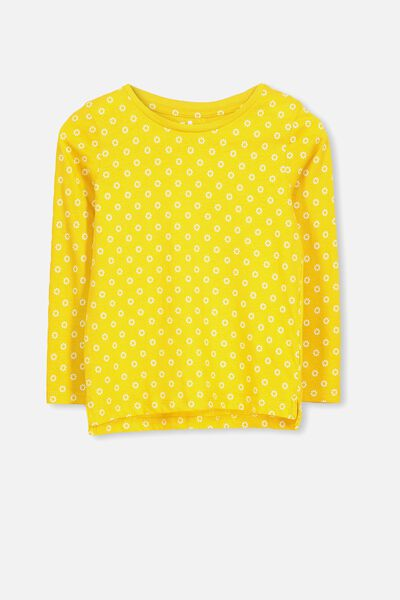 Penelope Long Sleeve Tee, GOLDEN ROD/DAISY/SET IN